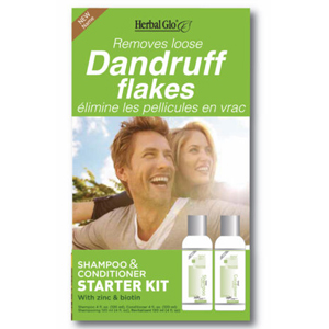box of herbal glo advanced dandruff shampoo and conditioner starter kit