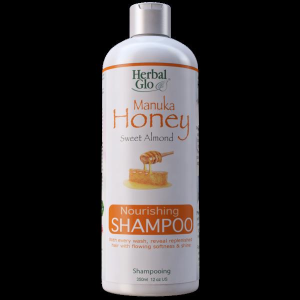 bottle of manuka honey and sweet almond nourishing shampoo
