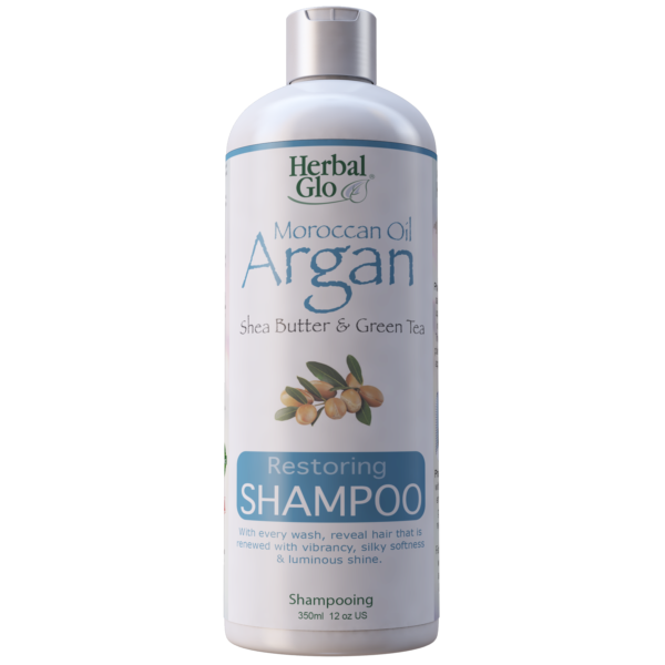 bottle of moroccan oil argan with shea butter and green tea restoring shampoo
