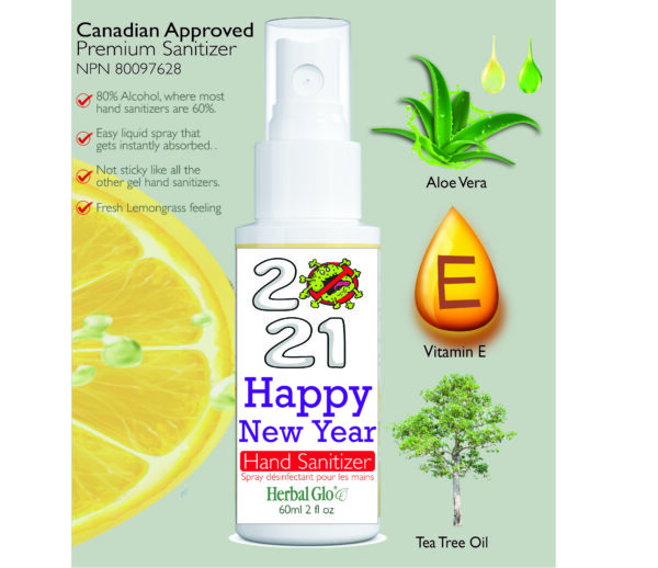 happy new year on a hand sanitizer bottle