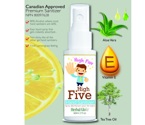image of a high five on a hand sanitizer bottle