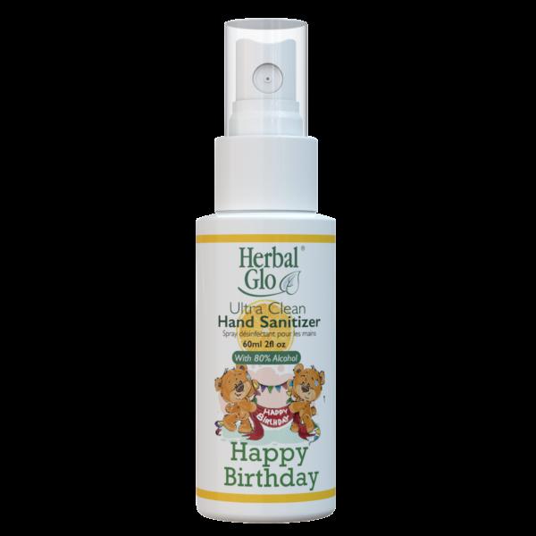bottle of hand sanitizer spray with happy birthday written on it