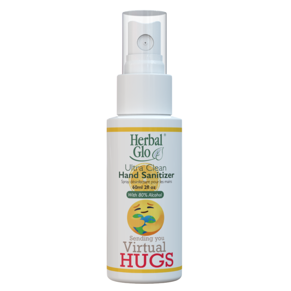 bottle of hand sanitizer spray with virtual hugs written on it