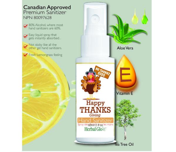 image of a thanksgiving turkey on a hand sanitizer bottle