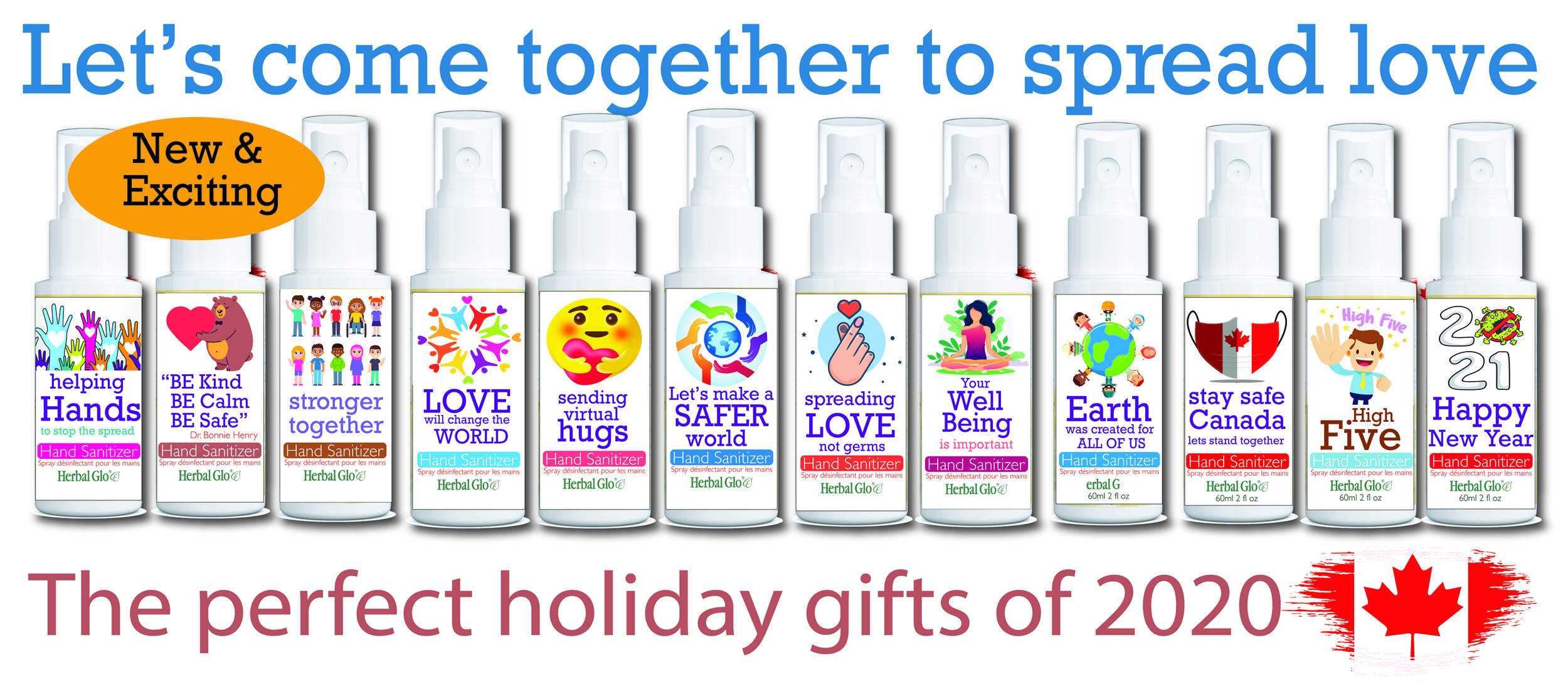 image shows the entire product line for catchy covid hand sanitizers