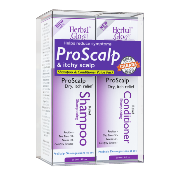 bottle of psoriasis and itchy scalp relief shampoo and conditioner combo pack